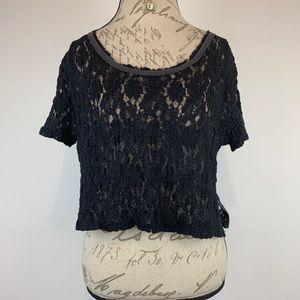 Free People Cropped Floral Lace Top Size L